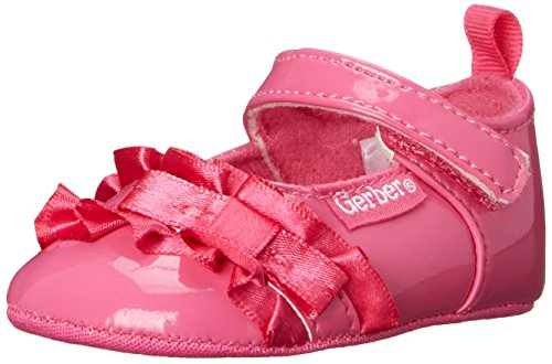 Size - Girls(Infant) - 6-9 Months US Infant Manmade Synthetic sole Glossy Mary Jane featuring satin ruffle and bow accent at topline Adjustable hook-and-loop strap Rear pull-on strap - 1