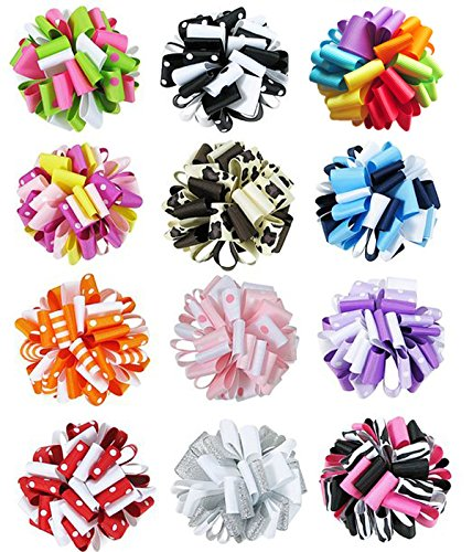 HipGirl grosgrain ribbon loopy ribbon puff hair bow clips. Mounted on grosgrain ribbon lined alligator clips. Easy attachment to hair. Can be attached to woven headbands