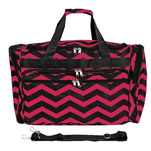 """100% Polyester Imported 11.5"""" high 11"""" wide duffel bag in patterned 600D polyester featuring U-zip opening and solid webbing/zipper taping^Detachable/adjustable shoulder strap Pockets: 4 exterior Made in China - 1"""
