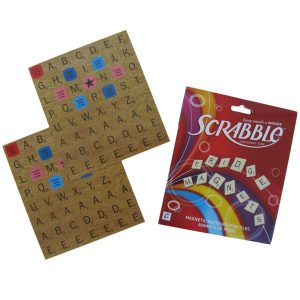 Scrabble Refrigerator Magnets. Over 100 magnets. See our Scrabble coasters and mugs too. Magnet set has a full set of scrabble letters plus Triple Letter