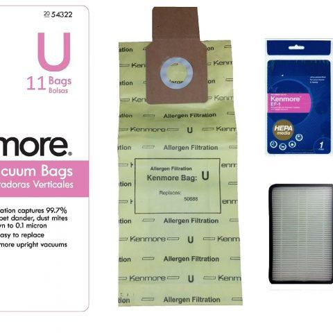 Includes 11 Kenmore Type U Allergen Certified Vacuum Bags