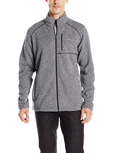 100% Polyester Imported Machine Wash Front-zip jacket in heathered sweater-fleece knit featuring contrast coverlock stitching and zippered chest pocket Welted hand pockets - 1