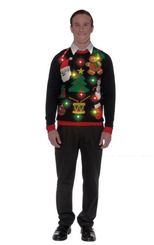 100% Polyester Knit Imported Hand Wash Long-sleeve sweater featuring whimsical Christmas design that lights up Ribbed trim - 1