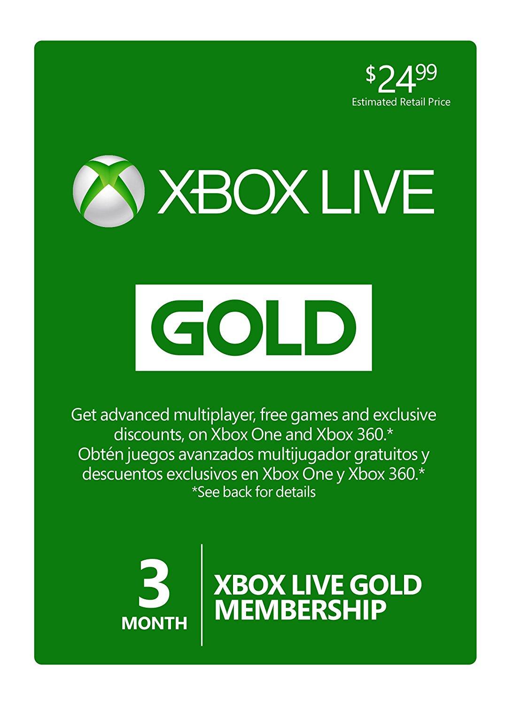 Microsoft xbox live 3 month gold subscription card [xbox 360/xbox.