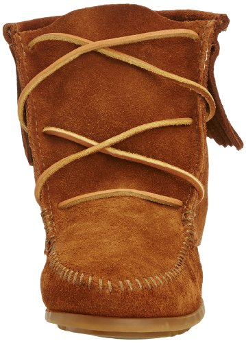 "Suede Rubber sole Shaft measures approximately 4.5"" from arch Ankle-high moccasin boot with fringe topline and whipstitched toe Cushioned collar and insole Grippy nub outsole - 2"