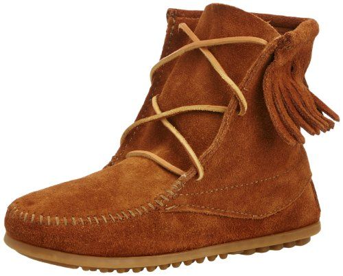 "Suede Rubber sole Shaft measures approximately 4.5"" from arch Ankle-high moccasin boot with fringe topline and whipstitched toe Cushioned collar and insole Grippy nub outsole - 1"