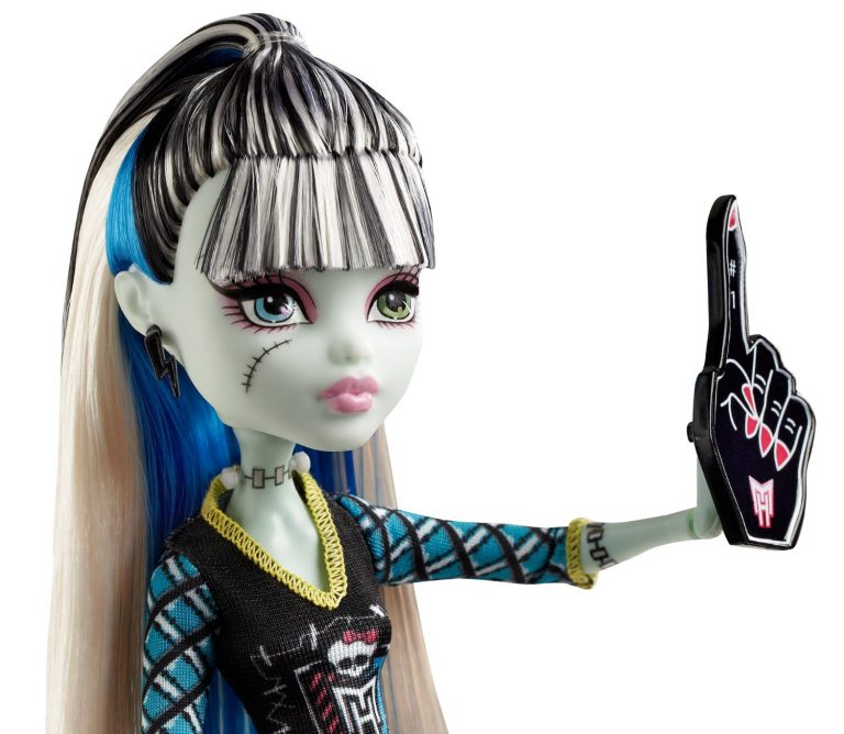 The Ghouls of Monster High are showing their school spirit Frankie Stein doll is showing her monster spirit with a giant sports hand Decked out in schoolgirl plaid and the Monster High logo Doll is fully articulated so they can be posed in many different ways Includes doll and spirit-themed outfit - 4