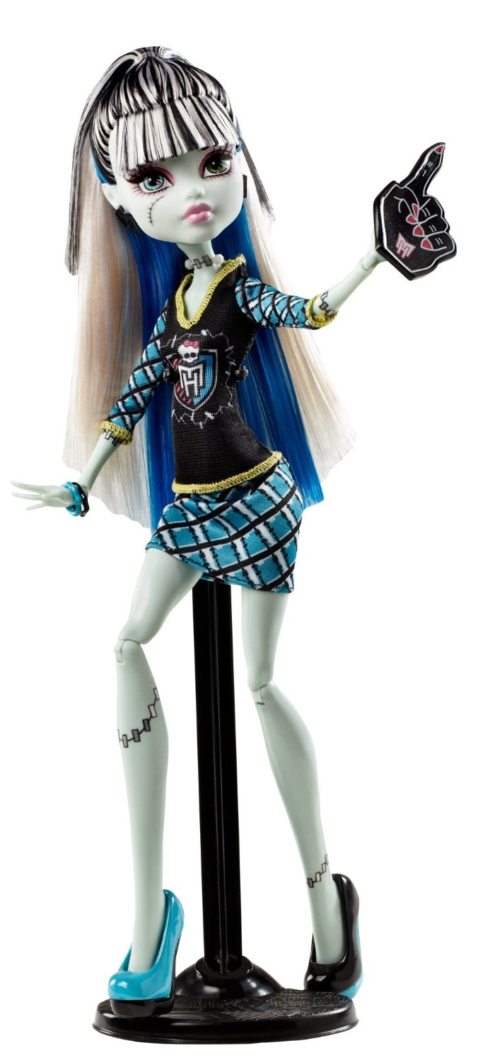 The Ghouls of Monster High are showing their school spirit Frankie Stein doll is showing her monster spirit with a giant sports hand Decked out in schoolgirl plaid and the Monster High logo Doll is fully articulated so they can be posed in many different ways Includes doll and spirit-themed outfit - 6