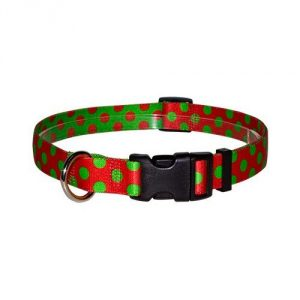 Easy clip designer collar with Christmas Polka design Size - Small -10-inch to 14-inch 100-Percent vibrant color-fast polyester Durable plastic buckles