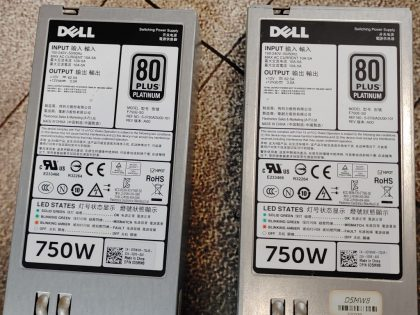Tested and pulled from a working system. You would receive exactly as pictured. Item Specifics: MPN : 0D5MW8 f750E-S0UPC : NABrand : DellModel : 80 Plus PlatinumMax. Output Power : 750W - 4